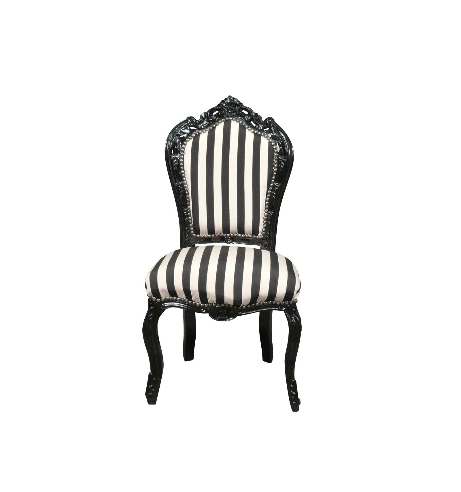 Barock Stuhl schwarz und weiß Louis XV Stil Möbel