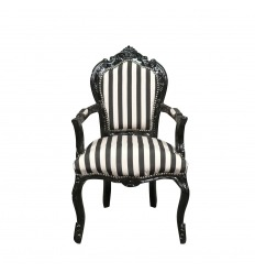 Classical baroque armchair with black and white stripes