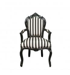 Klassisk barockfåtölj med svarta och vita ränder