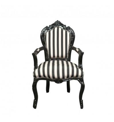 Barock Sessel mit schwarzen und weißen Streifen -