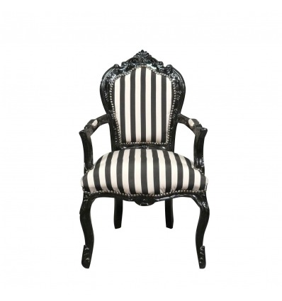 Baroque armchair with black and white stripes -