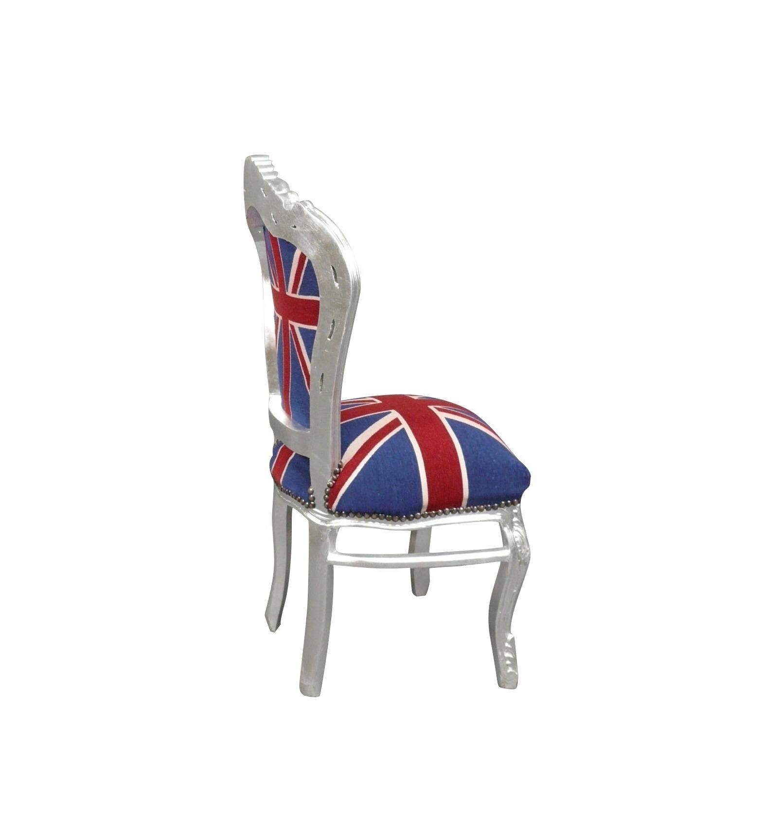 chaise baroque avec un tissu du drapeau anglais meubles de style. Black Bedroom Furniture Sets. Home Design Ideas