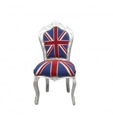 Chaise baroque avec un tissu du drapeau anglais