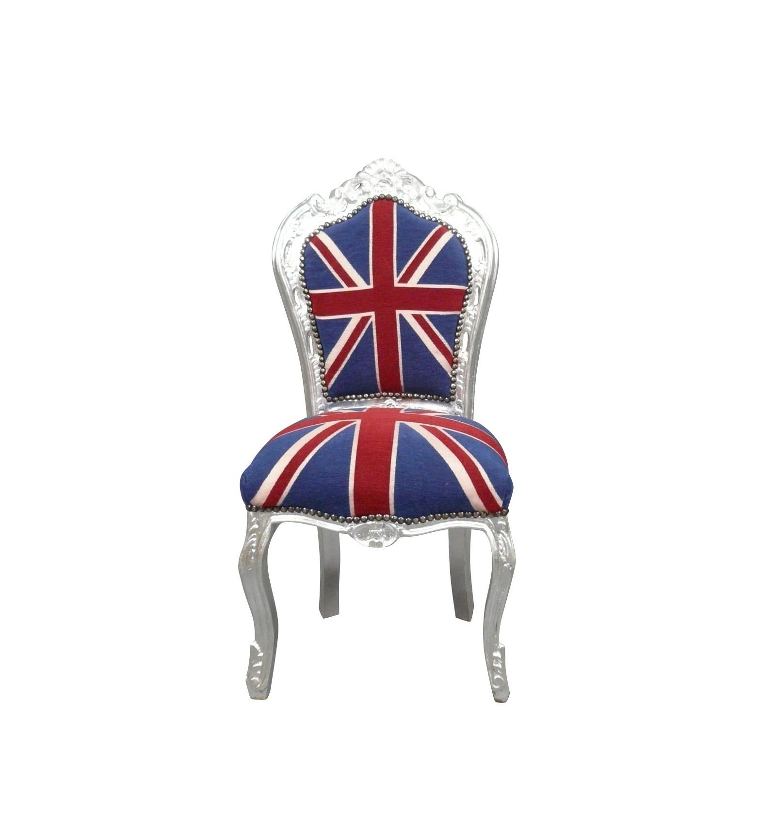 Chaise baroque avec un tissu du drapeau anglais meubles for Pouf avec drapeau anglais