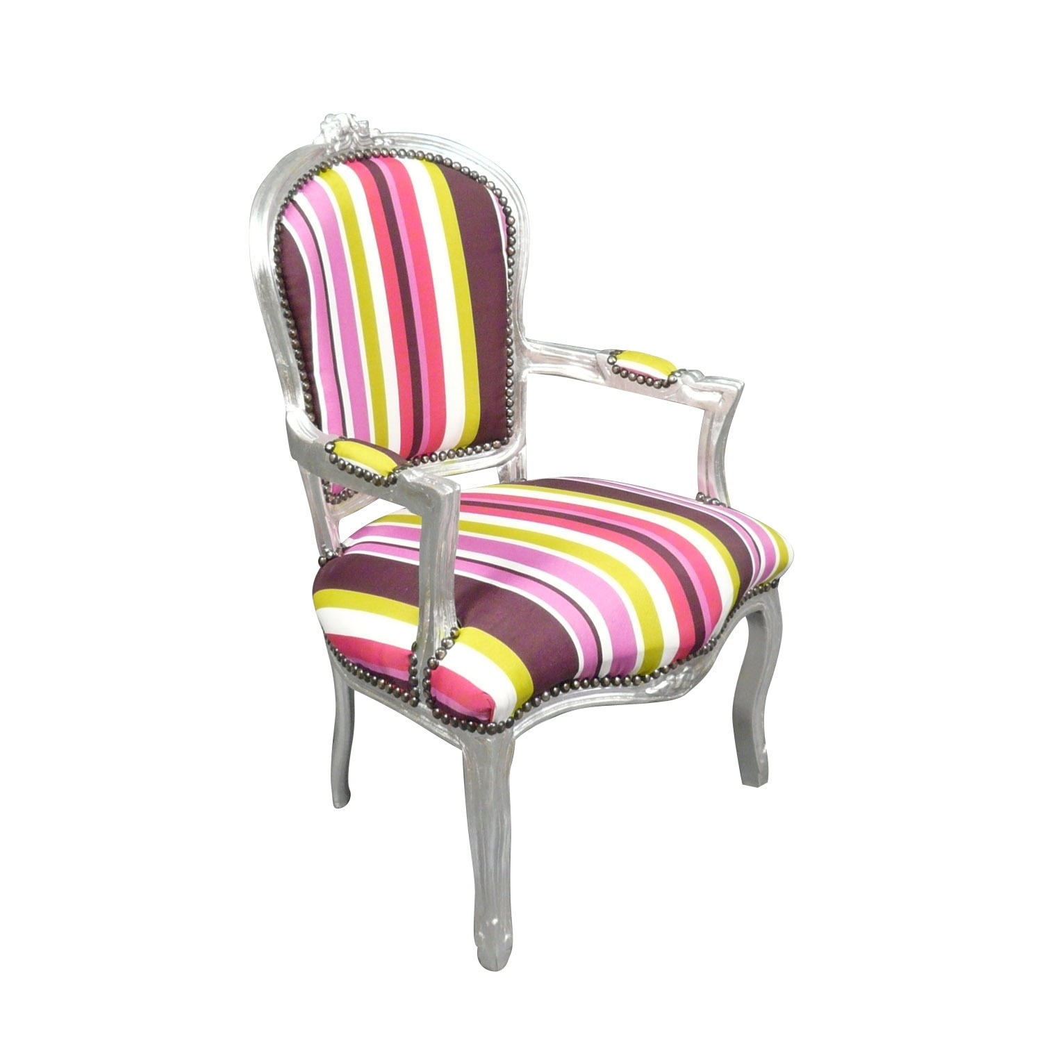 htdeco fauteuil louis xv multicolore baroque chaise ebay. Black Bedroom Furniture Sets. Home Design Ideas