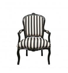 Louis XV Sessel mit schwarzen und weißen Streifen
