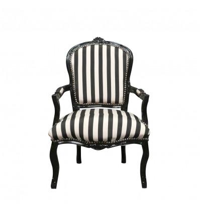 Louis XV tuoli musta ja valkoinen raidallinen -
