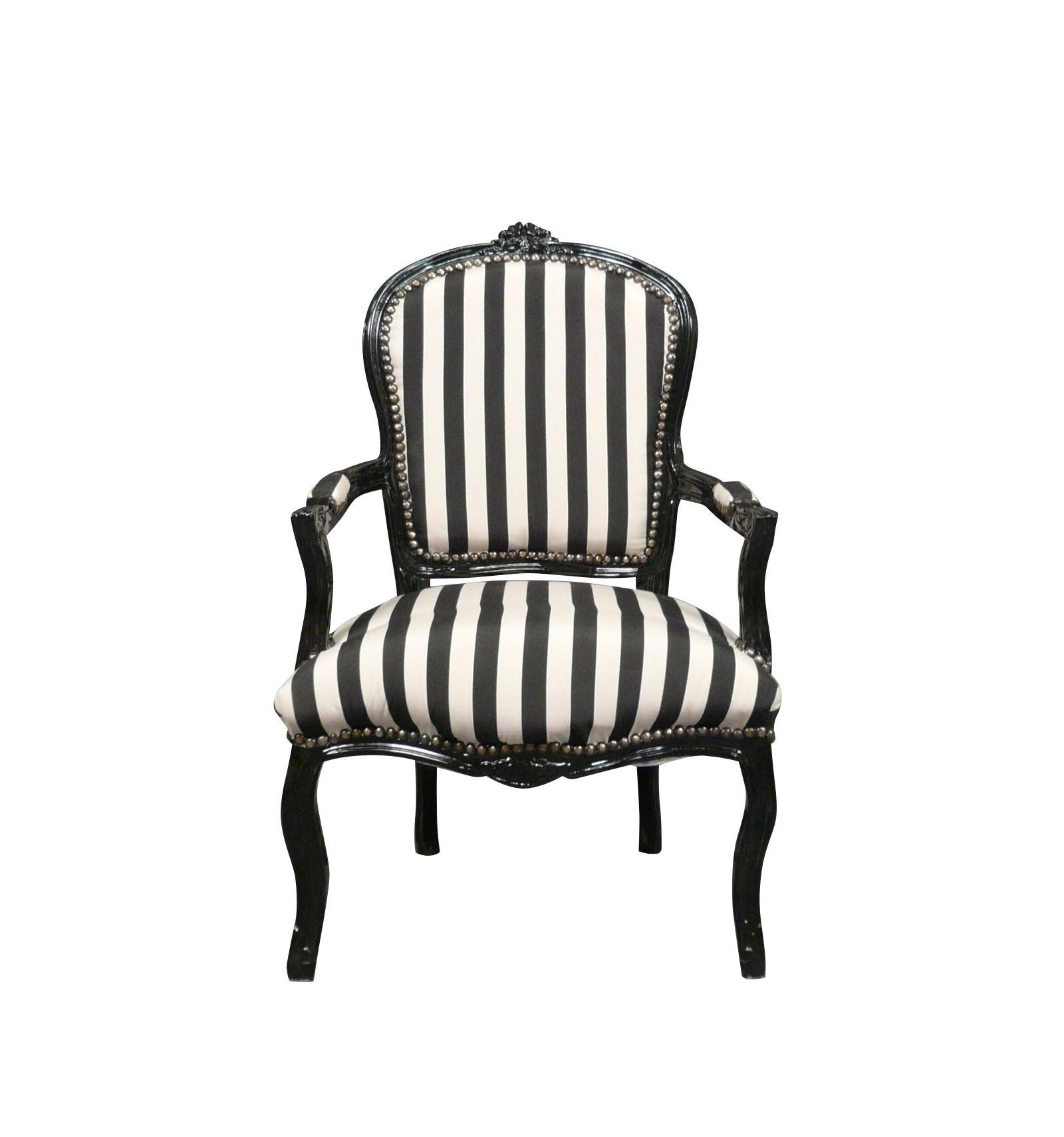 Chaise Salle A Manger Louis Xv fauteuil louis xv avec des rayures noires et blanches