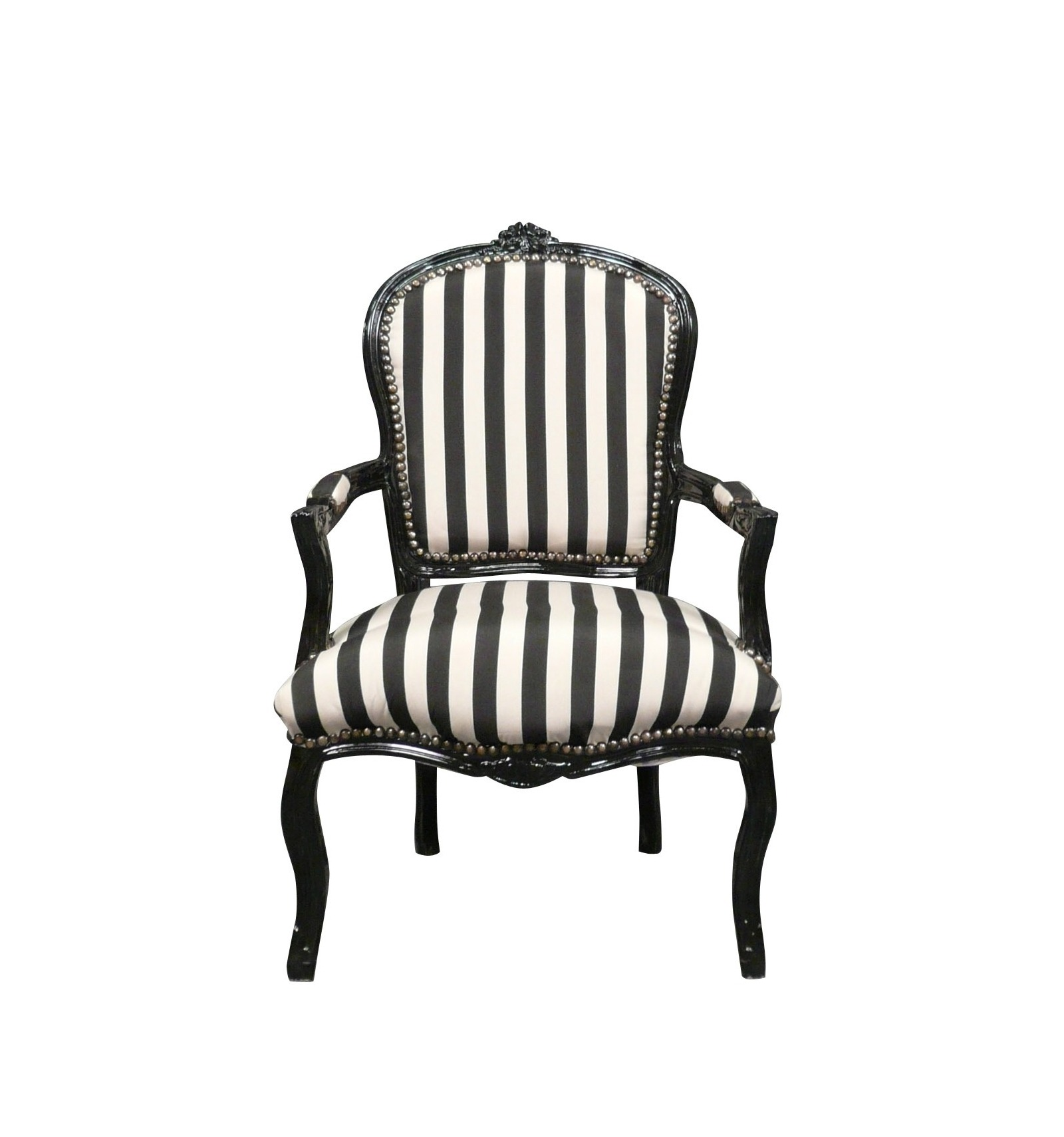 Louis xv armchair with black and white stripes for Chaise de style