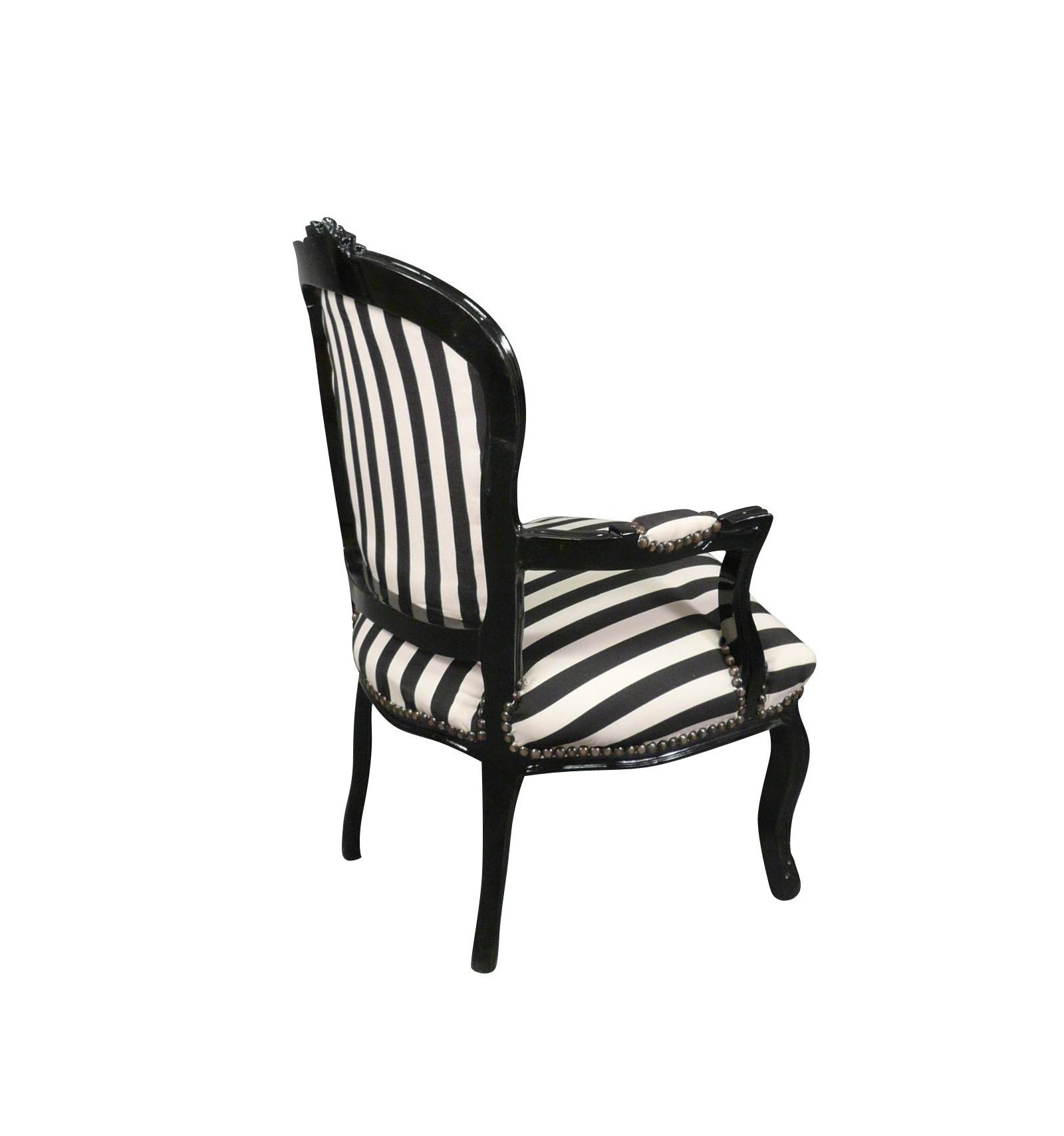 louis xv armchair with black and white striped baroque. Black Bedroom Furniture Sets. Home Design Ideas