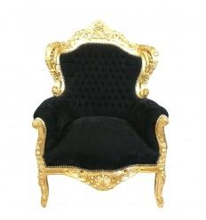 Fauteuil baroque noir et bois doré