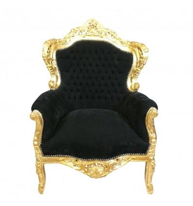 Poltrona barocco in velluto nero e legno dorato