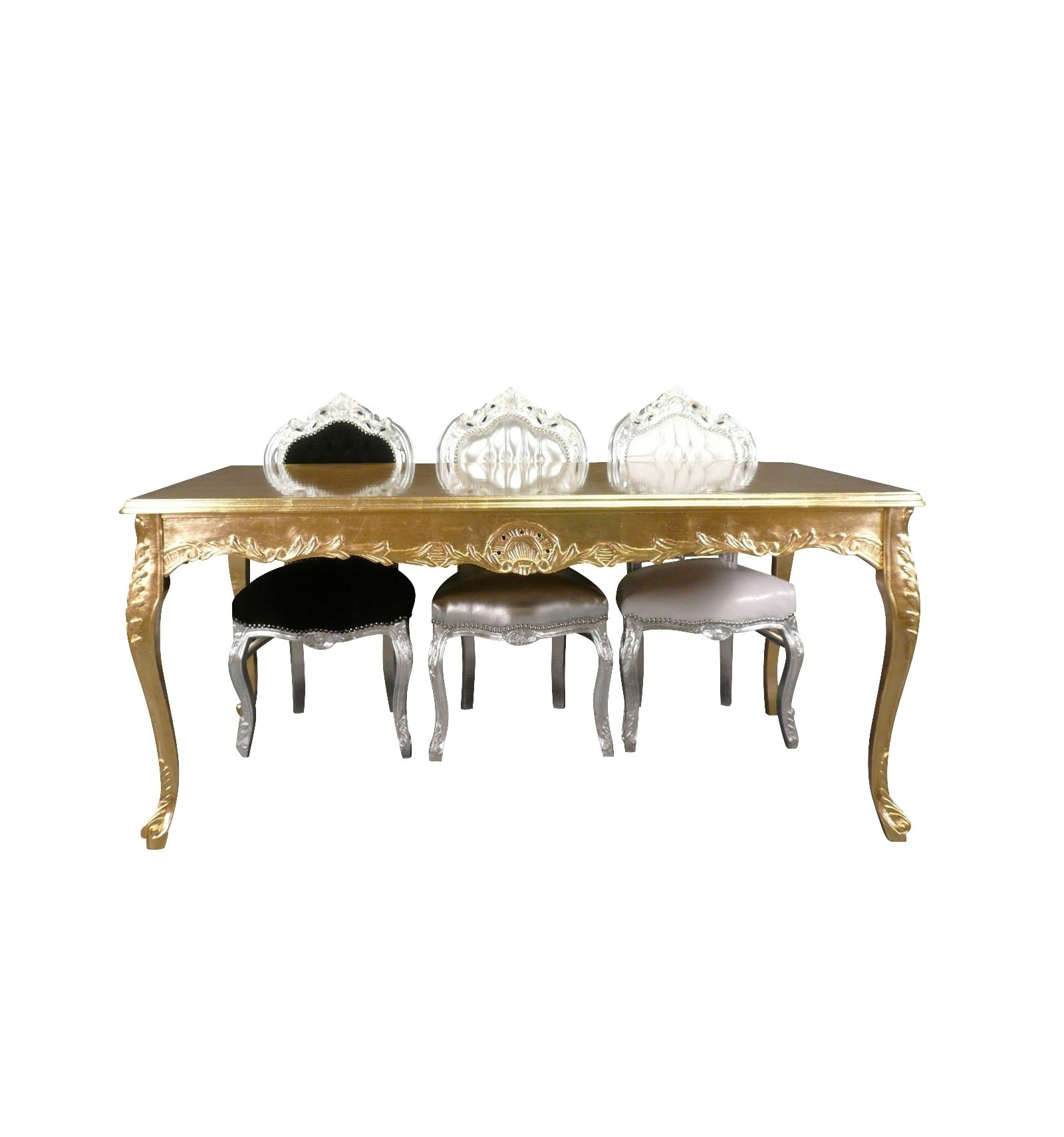 Table baroque en bois doré pour 8 personnes