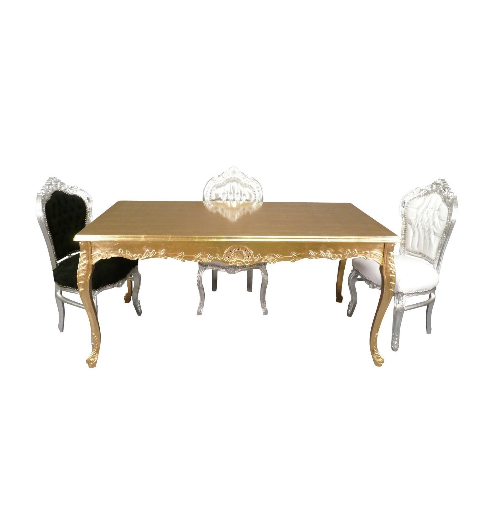 table baroque en bois dor pour 8 personnes. Black Bedroom Furniture Sets. Home Design Ideas
