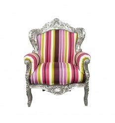 Monivärinen barokki nojatuoli