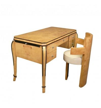 Art Deco desk in elm magnifying glass