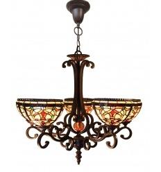 Lámpara de araña Tiffany con tres luces