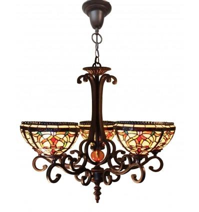 Tiffany kroonluchter met drie lampen - Serie van lampen Indiana -