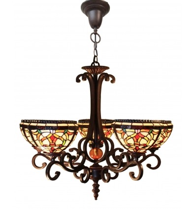 Tiffany Chandelier with Three Lights - Indiana Lamp Series -
