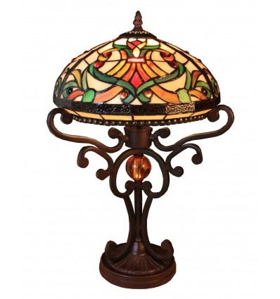 Tiffany Lampe - Indiana Serie - Barocke Beleuchtung und Sessel -