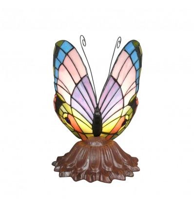 Lámpara de mariposa multicolor de Tiffany - luminarias y estatuas de bronce