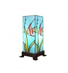 Tiffany's tafellamp vierkant in de vorm van een posisson kolom