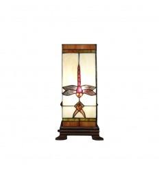 Lampada Tiffany a forma di colonna con una libellula