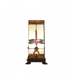 Lampe Tiffany en forme de colonne avec une libellule