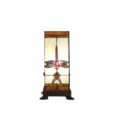 Lámpara Tiffany en forma de columna con libélula de cristal