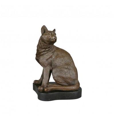 Statua in bronzo di una seduta del gatto - Scultura -