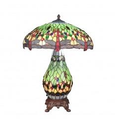 Stolní lampa vážky Tiffany - základna ze zeleného barevného skla