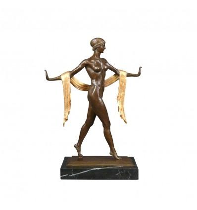 Statua in bronzo Art deco - La donna con la sciarpa -