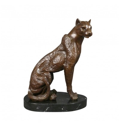 Staty i brons - sitter Panther - konst skulptur -