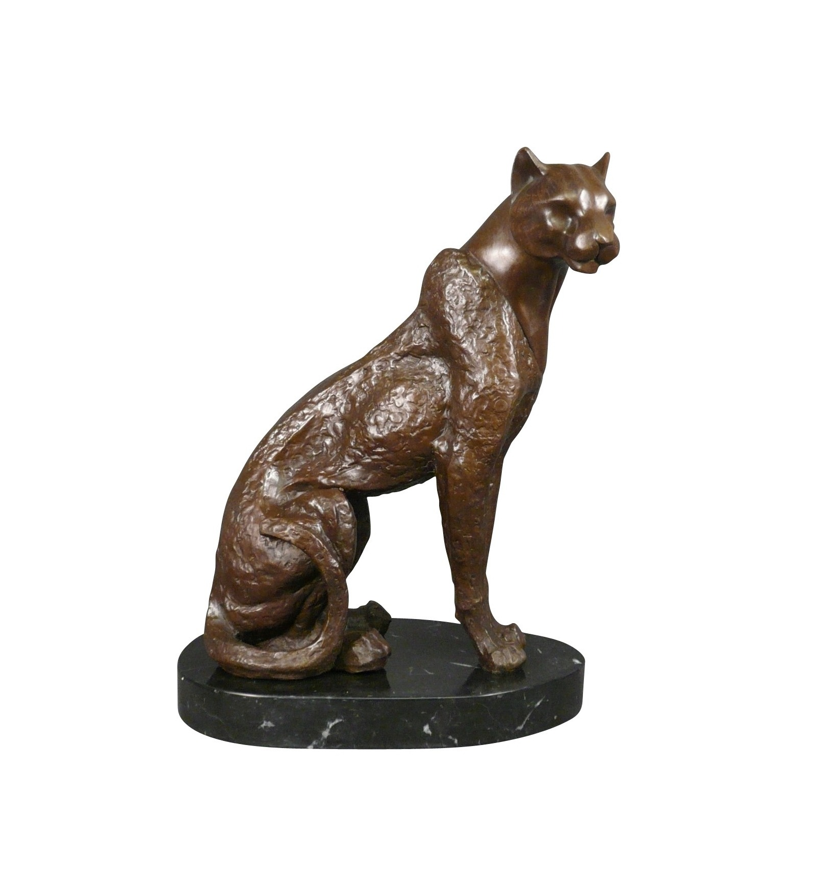 Bronze Statue The Panther Seated Sculpture Art