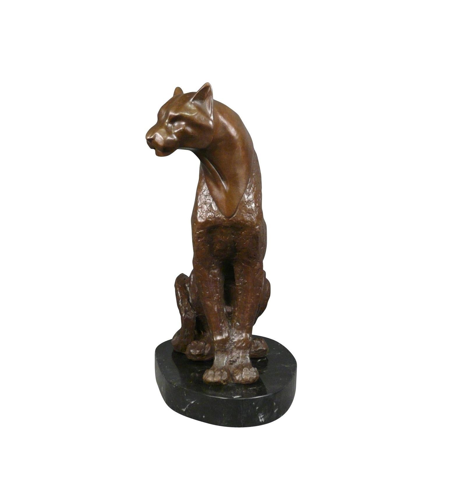 statue en bronze la panth re assise sculpture d 39 art. Black Bedroom Furniture Sets. Home Design Ideas