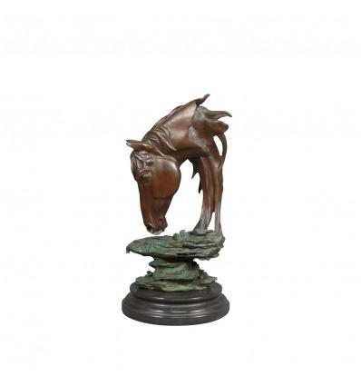 Buste de cheval en bronze - Sculpture - Statue -