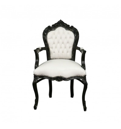 Baroque armchair black and white Vesoul - Art deco furniture -