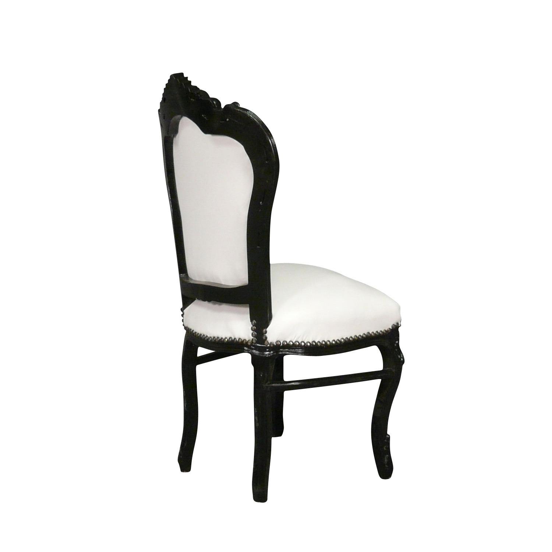 Htdeco chaise baroque noire et blanche s rie vesoul - Chaise noire et blanche ...