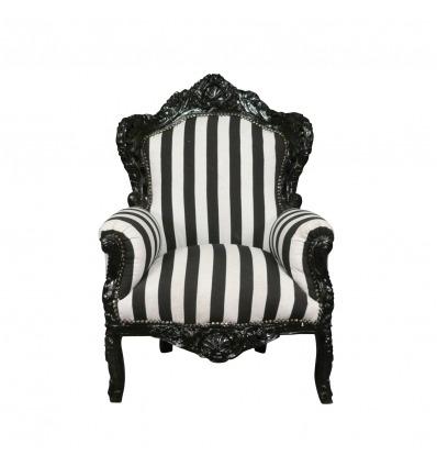 Sillón barroco blanco y negro - Muebles Art Deco. -