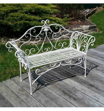 banc de jardin en fer forg blanc. Black Bedroom Furniture Sets. Home Design Ideas
