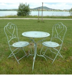 Set of Bistro in wrought iron, 1 table, 2 chairs