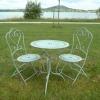 Uppsättning av smidesjärn, trädgårdsmöbler, stol, bord Bistro