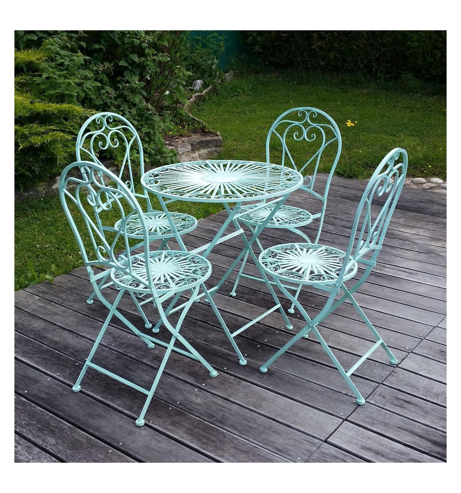 Jard n del hierro labrado silla y mesa for Muebles de jardin de hierro