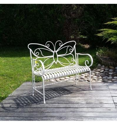 Weiße Gartenbank aus Schmiedeeisen - Gartenmöbel aus Schmiedeeisen -