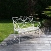 Panchina da giardino in ferro battuto-bianco - mobili da giardino in ferro battuto -