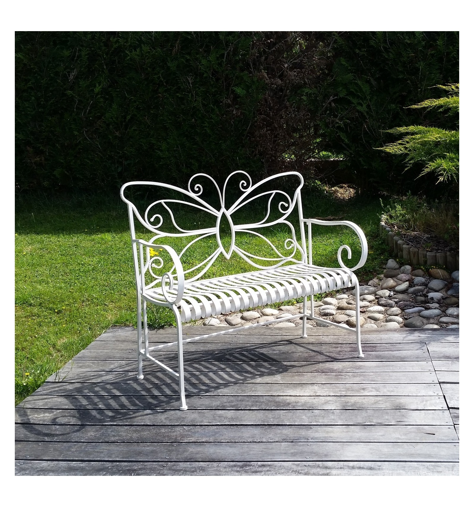 Banc de jardin en fer forg blanc salon de jardin en fer forg - Banc de jardin blanc ...