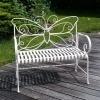 Banco de jardín de hierro forjado blanco - Muebles de jardín de hierro forjado -