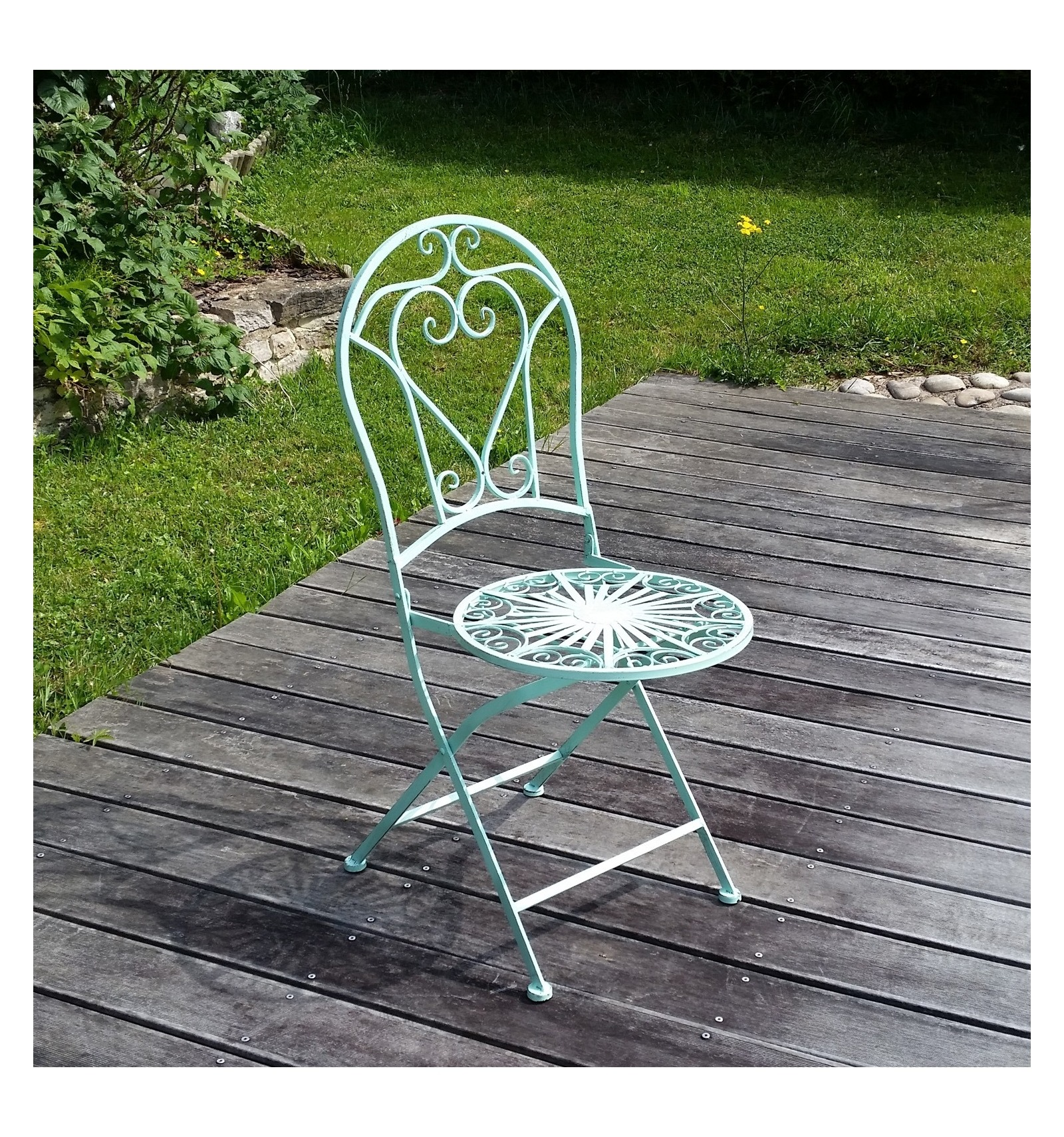 Garden furniture set in wrought iron 2 chairs for Wrought iron garden furniture