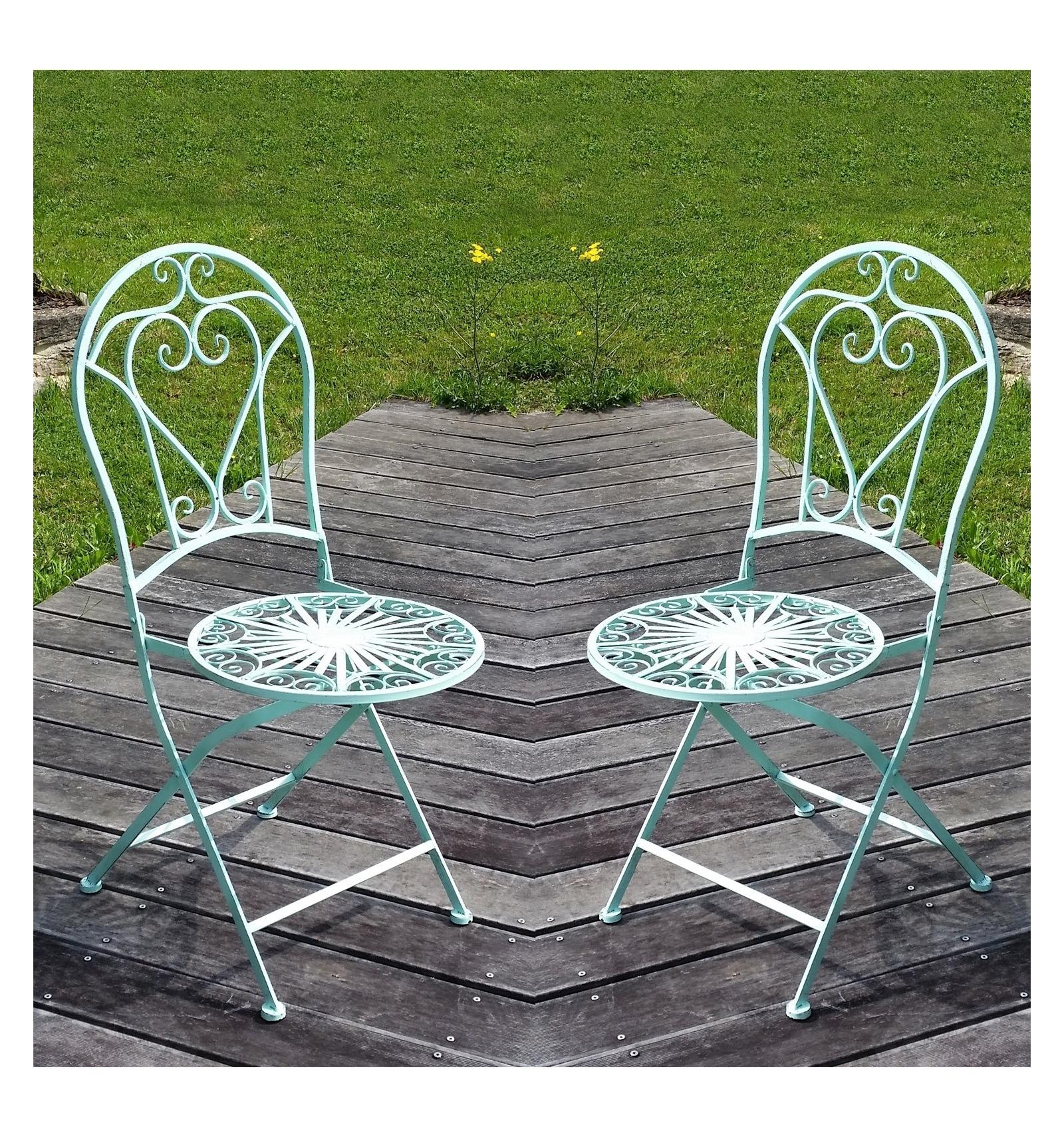 Chaise en fer forg la paire salon de jardin en fer forg for Chaise en fer