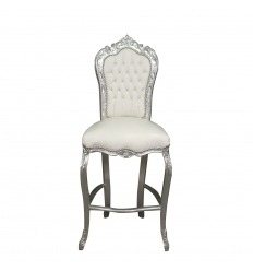 Chaise baroque de bar blanche style Louis XV